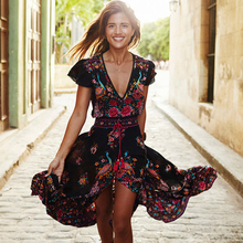 women new summer v neck vintage boho long maxi floral national chiffon dresses party beach dress floral sundress