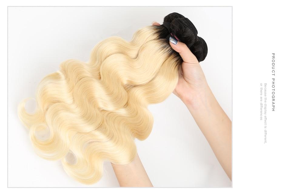 HTB1laavX.zrK1RjSspmq6AOdFXaA Facebeauty Brazilian Human Hair 2 Tone Dark Roots Ombre Blonde Hair 3 Bundles With Lace Closure 1B/613 Body Wave Color Hair Weft