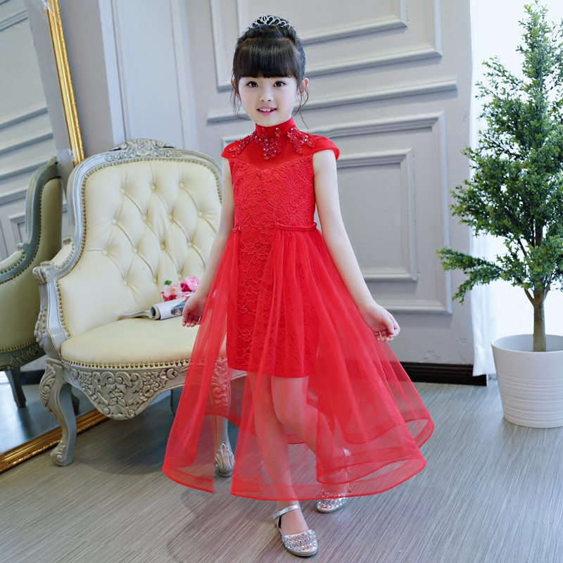 2017 New Girls Kids Red Color Lace Dress Children Luxury Wedding Birthday Party Chinese Qipao Dress Red Cheongsam Pageant Dress red full length wedding dress elegant evening gowns chinese women embroidery flower qipao sexy cheongsam bride toast clothing