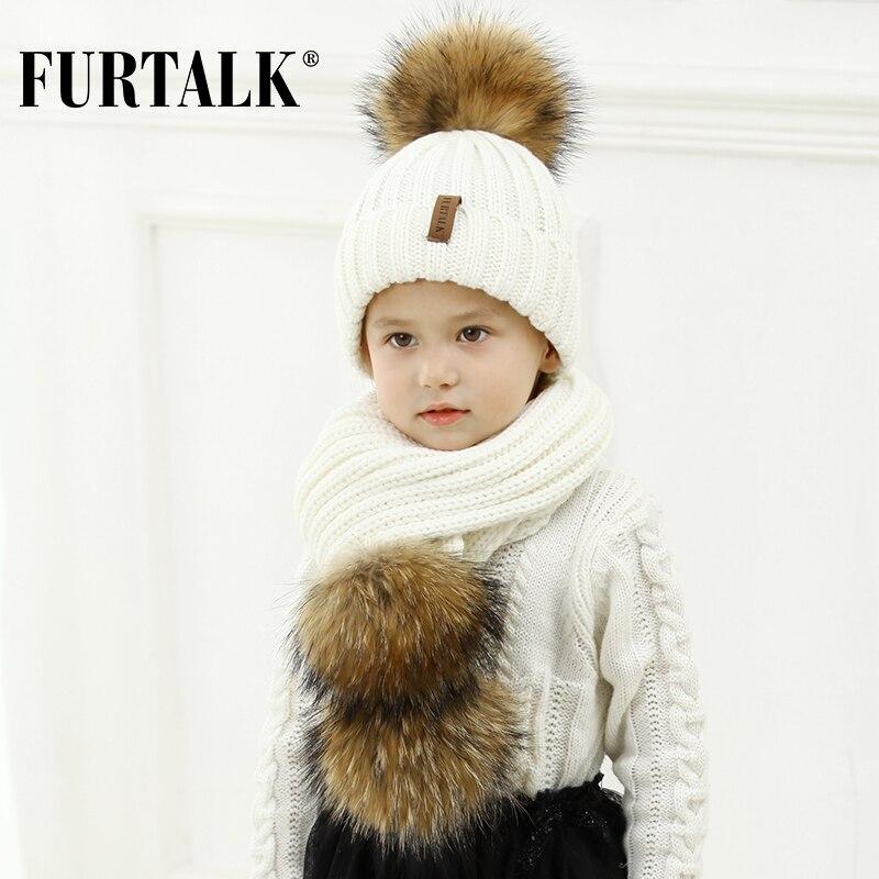 FURTALK Bambini Dai 2 10 Inverno Caldo Chunky Spessa Knit Beanie Cappelli e  Sciarpe Reale Fur Pom pom Cappello Sciarpa Set per Bambino in FURTALK  Bambini ... b77955568ae9