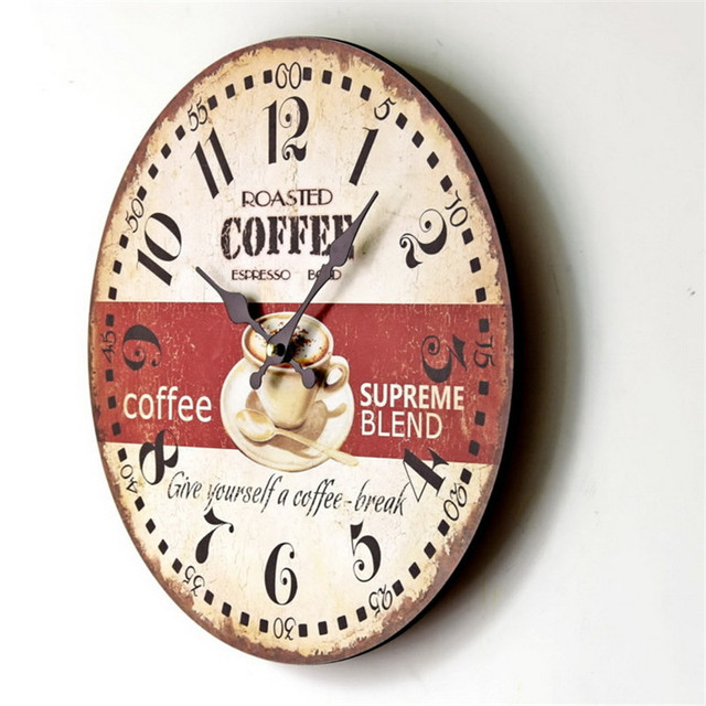 2017  Wood Wall Clocks Antique Vintage Home Watch Time Clock Furnishing  Wooden Cock Digital  Wall Clock Figurine For Kitchen