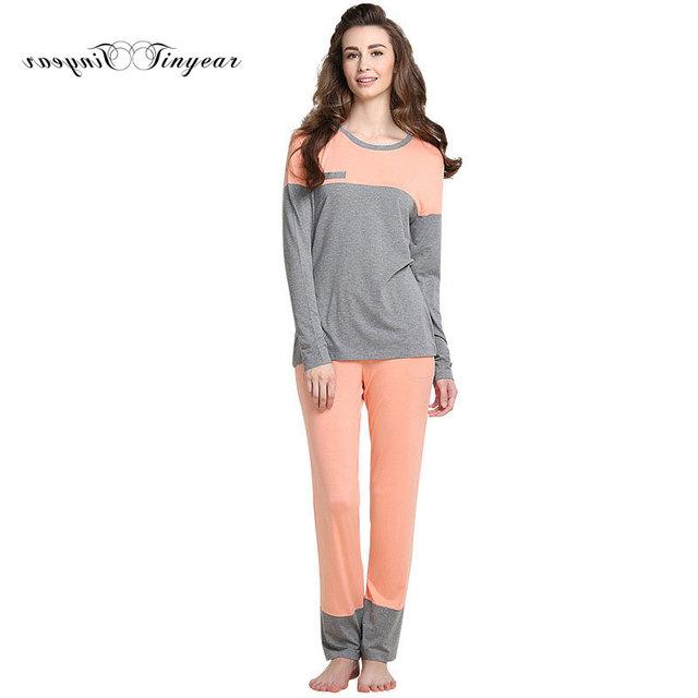 Chegada nova Inverno Mulheres sleepwear Moda Patchwork luva Cheia Senhoras Pijamas M-XXL Laranja Algodão Pijamas set