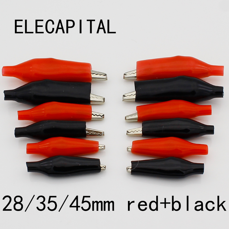 цена на 60 PCS Metal Alligator Clip crocodile electrical Clamp FOR Testing Probe Meter 28MM 35MM 45MMBlack and red Plastic Boot