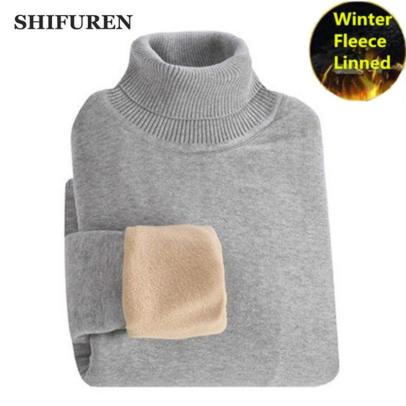 SHIFUREN Winter Thick Warm Sweaters Men Turtleneck Fleece Linned Long Sleeve Pullovers Knitwear Male Jumpers Jersey Sweaters