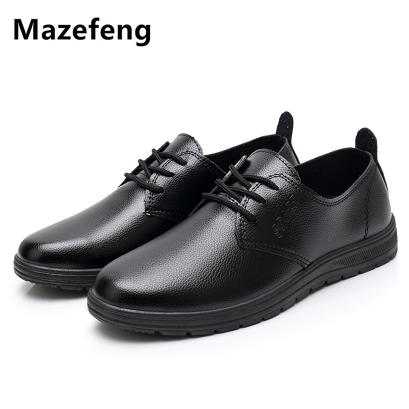 Mazefeng Male Leather Shoes Breathable Round Toe Men Dress Shoes Lace-up Waterproofing Solid Business Leather Shoes Black Flats image