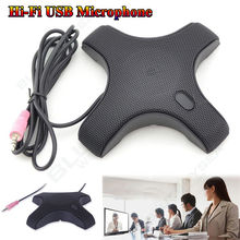 Free Shipping! USB 3.5mm Hi-Fi Headphone Condenser Omnidirectional Conference Microphone Mic For Teleconferencing Desktop