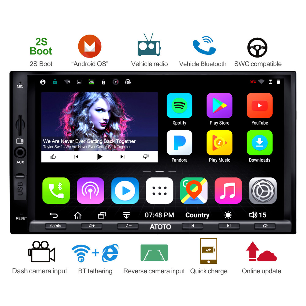 ATOTO A6 2Din Android Auto GPS-Navigation Stereo Player/2 * Bluetooth/A6Y2721PB 2g + 32g /2A Quick charge/Indash Multimedia Radio/WiFi