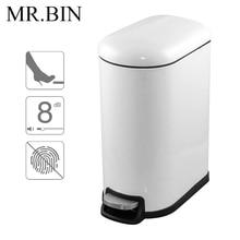 MR.BIN Trash Can Stainless Steel Foot Pedal Pressing Dustbin Home Bathroom Waste Bin WB-FP005 10L Bright White