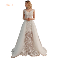 Lace wedding dress illusion Sexy with detachable Tulle train V neck African Women bride Wedding Gowns vestido de noiva 2018