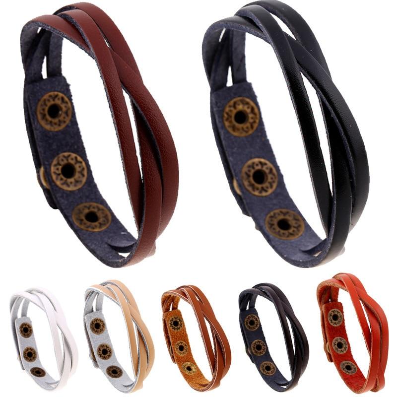 Day Weave Cowhide Multicolor Optional Fashion Leather Bracelet 2 Element Punk