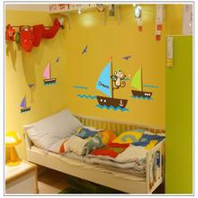 colorful cartoon Airplane Cloud Sky cute monky sea dream home decor for kids room decals wall stickers child nursery DIY mural