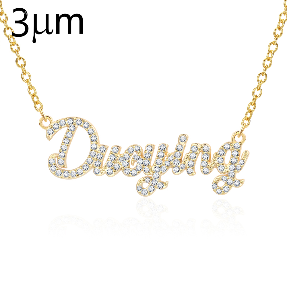 3UMeter Custom Jewelry Crystal Plating Really Gold Sparkling Cut Carrie Style Name Necklaces Personalized Nameplate Necklace