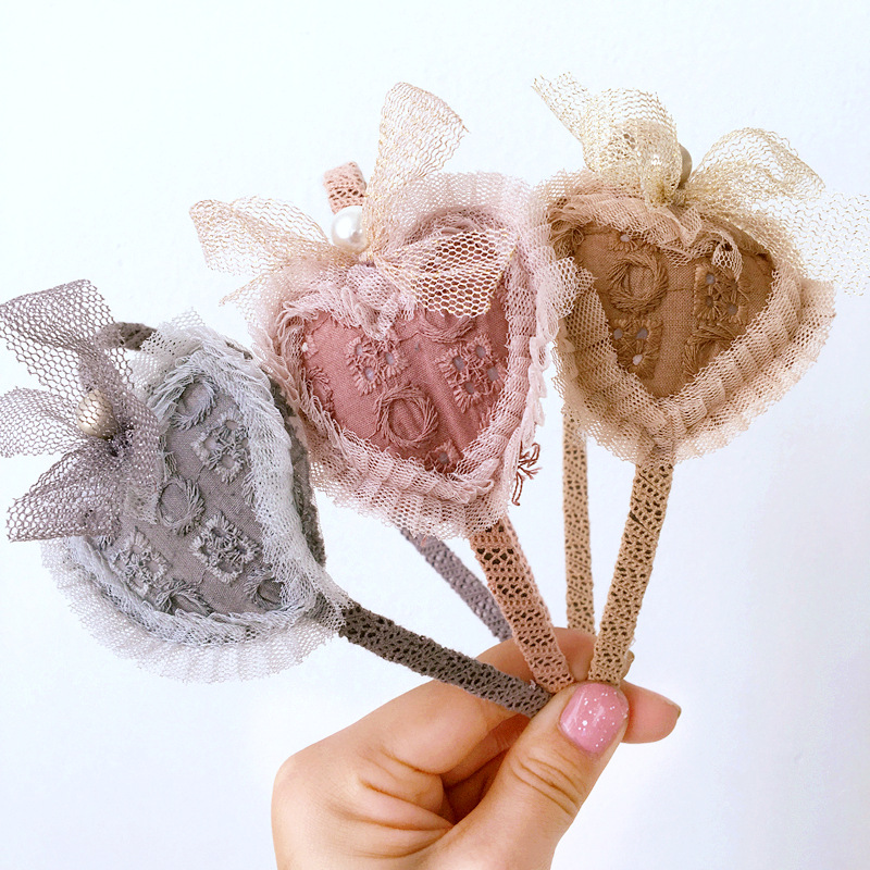 Korea lovely Sweet Heart Flower Hair Accessories For Girls High Quality Hair Band Headband Hair Bow Princess 4