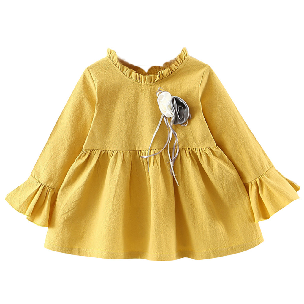 baby girl clothes baby girl dress Toddler Kids Baby Girls Long Sleeve Flower baby dresses girl Clothes Party Princess Dress #7