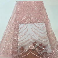Luxury Embroidered Baby Pink Nigerian Sequins Lace Fabrics African French Lace Fabric 5 yards Party Dress Tulle Net Lace X1484