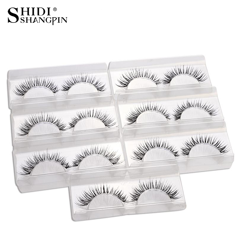 7 Pairs False Lashes Natural Wispies Eyelashes Long Makeup Fake Eyelashes Winged Eyelash Extension Eye Lashes faux cils V13