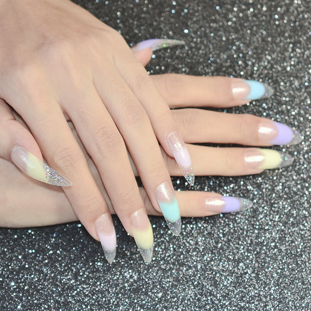 Colorful Pointed French Tip Nails Gallery - Nail Art Design Ideas ...
