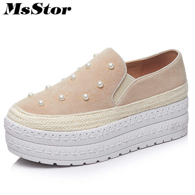 MsStor Round Toe Loafers Women Flats Casual Fashion Pearl Ladies Flat Shoes 2018 Spring Sewing Women Brand Flat Platform Shoes women flat platform loafers shoes 2018 new brand women leather casual platform shoes for ladies new fashion flats shoes women