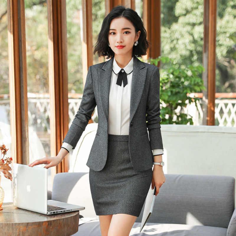 4e27302d2c Women Business Suits Skirt Suits Single Button Long Sleeve Formal Office  Uniform Blazers with Skirts Suit