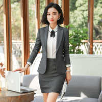 Women Business Suits Skirt Suits Single Button Long Sleeve Formal Office Uniform Blazers with Skirts Suit Plus size 3XL 4XL 5XL