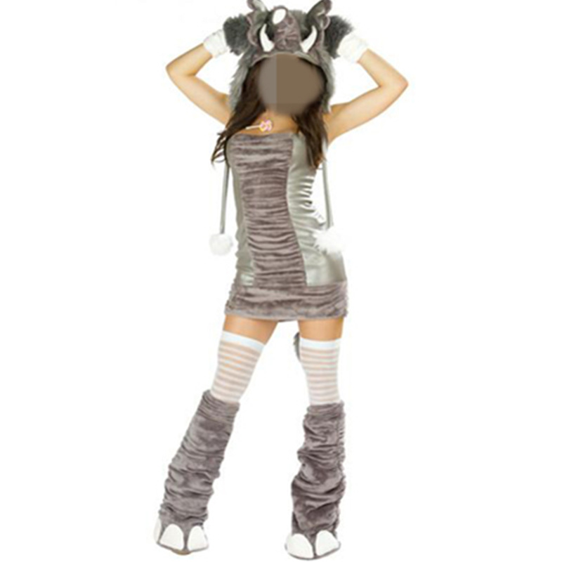 Fancy Masquerade Woman's Sexy Cosplay Costumes Animal Leather Fur Elephant Role Play Disfraces Clothes
