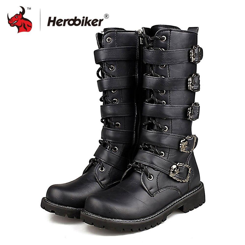Мужские ботинки в байкерском стиле ботинки для мотокросса мотоциклетная обувь из искусственной кожи рок до середины икры Пряжка мотоцикле...