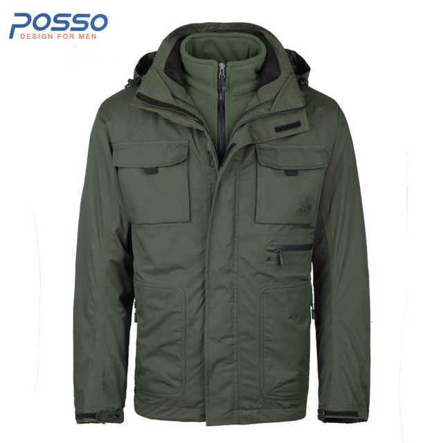 Legergroene Winterjas Heren.2 In 1 Jas Heren Windbreaker Jassen Legergroen Mannen Fleece Jas