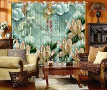 3D Curtain Printed Curtain Depicting Marble Jade Carving Imitation Porcelain Lotus Bathroom Shower Curtain Custom Any Size(China)