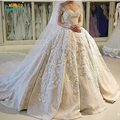 sheer long sleeve Lace V neck Ball Gown Wedding Dress vestidos de noiva puffy applqiues button back Bridal Gowns Wedding gowns