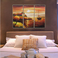Hand Painted Living Room Fitted Scenery Fishermen Life Home Canvas Unframed Oil Paintings for Home Hotel Resturantant Wall Decor