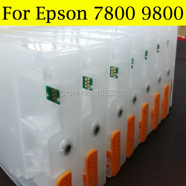 8 Pieces Set Refill Ink Cartridge For Epson 9800 9800XL Stylus Pro 7800 Printer In Cartridges From Computer Office On