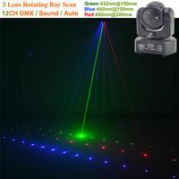 AUCD Mini 3 Heads RGB Laser Shark Moving Beam Light DMX Professional Bar Party Disco Show DJ Stage Lighting DJ 3H