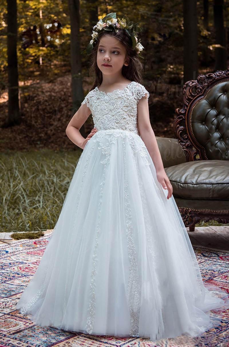 Vintage Princess Floral Lace 2017 Long Flower Girls Dresses Ankle ...