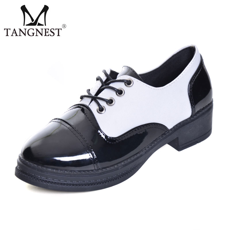 Tangnest Oxfords Women NEW Autumn Patent Leather Wedge Shoes Fashion Black White Patchwork Lace UP Platform Shoes Women XWD6045 all black platform shoes men brogues 2016 autumn brand design fashion shoes blingbling leather oxfords real leather shoes 38 44