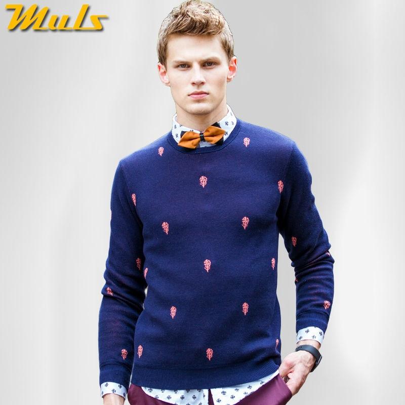 832bb521b5b2 € 20.63 48% de DESCUENTO|Hombres suéter de algodón suéter de hombre Otoño e  Invierno hombre jersey Vestido de punto ropa de marca Muls O cuello azul ...