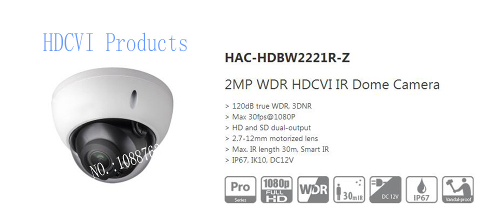 Free Shipping DAHUA CCTV Security Outdoor Camera 2MP WDR HDCVI IR Dome Camera IP67 IK10 Without
