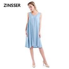 סתיו חורף טהור נשים ינס פנסי שמלת Loose מקרית שרוולים 100% Tencel שטף כחול נשי גברת שמלה