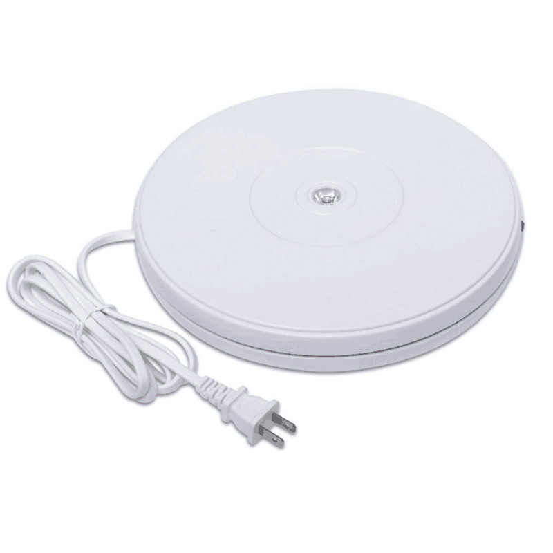25 cm/10 pouces lumière LED 360 degrés plaque tournante électrique tournant présentoir pour la photographie 110-220 V EU US plug