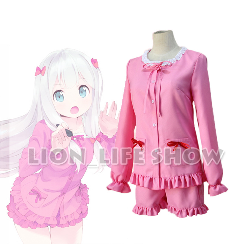Japanese Animal Eromanga Sensei Cosplay with bow headwear Ero Manga Sensei Sagiri Izumi pink slepwear all set Cosplay Costume