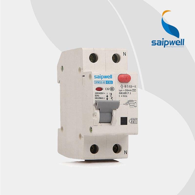 Disyuntor 32A 230V 1 polos aprobado por CE en miniatura/disyuntor diferencial (SPM1-1LE-63C32)