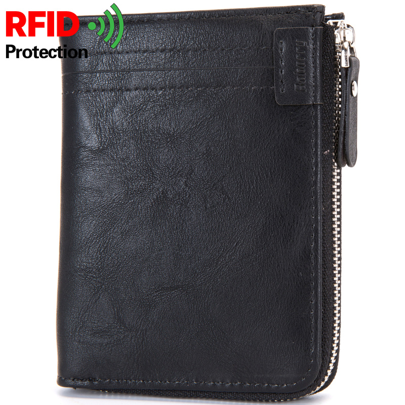 Business Men Wallet RFID Blocking Protection Anti-Theft Scan Men Short Wallet Zipper Coin Case Pouch Casual Leather Money Purse 4