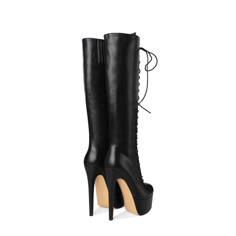 14d8ebd69fc US $65.34 34% OFF|onlymaker Women's Sexy Platform Front Lace Up High Heel  Stiletto Stretch Over The Knee High Boot US5~US15 plus size women boots-in  ...