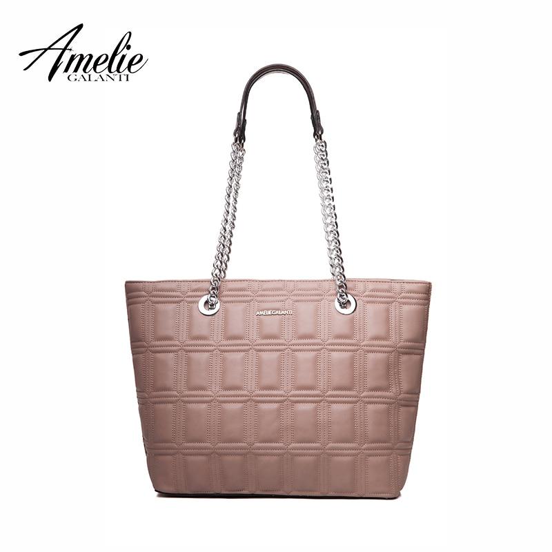 AMELIE GALANTI new fashionl women tote bag casual Ladies shoulder shopping bags geometric soft zipper solid original design