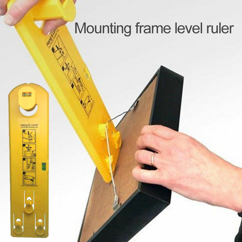 Practical Yellow Hanging Level Tool Horizontal Ruler For Located Mirrors Photo Frame Level Ruler With The Location Of The Nail 300mm multifunctional combination square ruler stainless steel horizontal removable square ruler angle square tools metal ruler