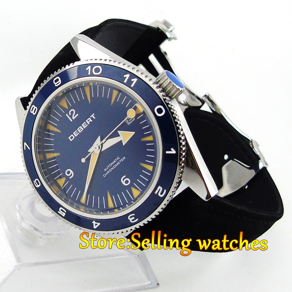 DEBERT 41mm Blue dial ceramic bezel leather strap MIYOTA Automatic mens watch цена и фото