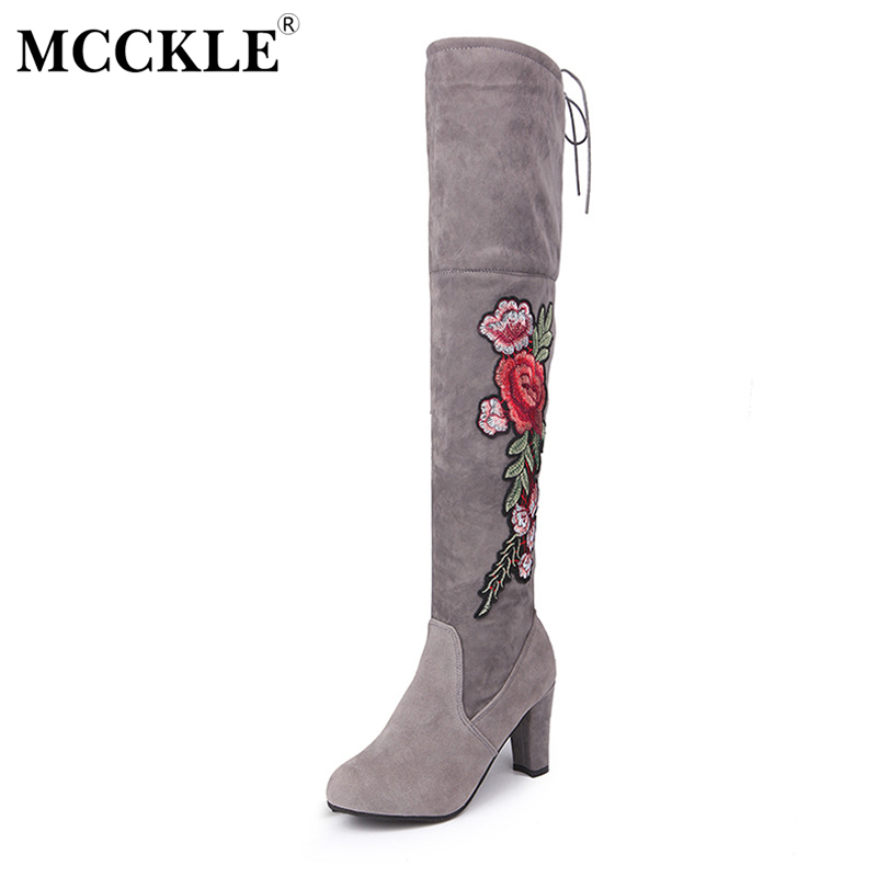 MCCKLE Woman Winter Thigh High Boots Exquisite Embroidery Flower Faux Suede High Heels Over The Knee Shoes Plus Size 34-43 nayiduyun new fashion thigh high boots women faux suede point toe over knee boots stretchy slim leg high heels pumps plus size