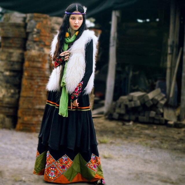28dcbfb55d1 BOHOCHIC Original Vintage Bohemian Nepal Turkey Ethnic Embroidery Cotton Linen  Women Long Swing Skirt Black AHZ0078D Boho Chic