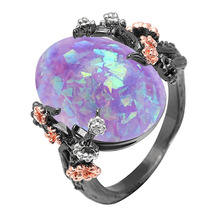 Beautiful Flower Ring Jewelry Black Gold Filled Romantic CZ Big White Fire Opal Ring Women Party/Engagement Bands Finger Ring junxin luxury round blue fire opal ring vintage flower leaf engagement wedding rings for women unique black gold filled jewelry
