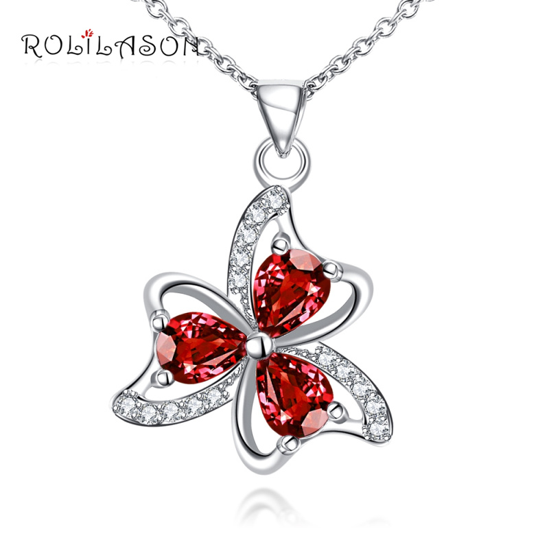 ROLILASON Flower Plants Special gift Cubic Zirconia Red Crystal Fashion Silver Necklace Pendant Jewelry LNS668