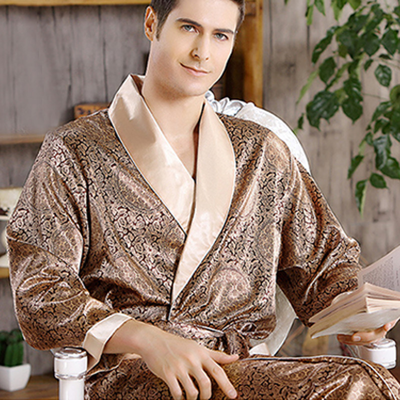 Male New Real Mens Luxury Bathrobe Geometric Robes V-Neck Lmitation Silk Knitted Sleepwear Full Sleeve Nightwear XXXL 5 Colors